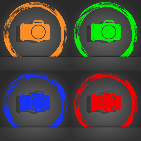 digital camera: Photo camera sign icon. Digital photo camera symbol. Fashionable modern style. In the orange, green, blue, red design. illustration Stock Photo