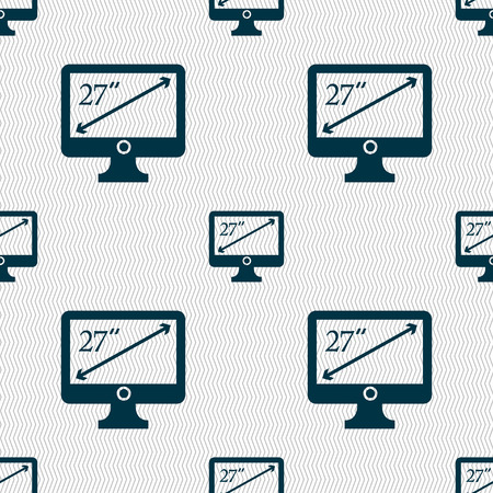 27: diagonal of the monitor 27 inches icon sign. Seamless abstract background with geometric shapes. illustration