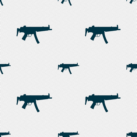 large group of object: machine gun icon sign. Seamless pattern with geometric texture. illustration