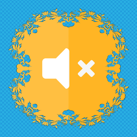 tech no: Mute speaker , Sound . Floral flat design on a blue abstract background with place for your text. illustration