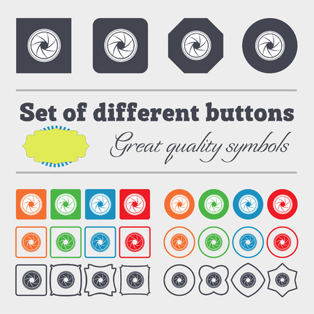 diaphragm: diaphragm icon. Aperture sign. Big set of colorful, diverse, high-quality buttons. illustration