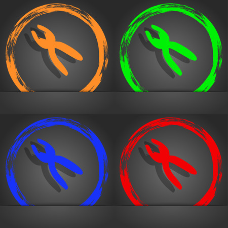 craftsmen repair: pliers icon sign. Fashionable modern style. In the orange, green, blue, red design. illustration Stock Photo