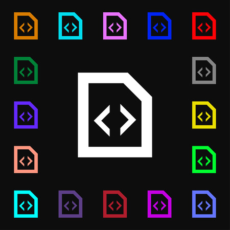 programming code: Programming code icon sign. Lots of colorful symbols for your design. illustration