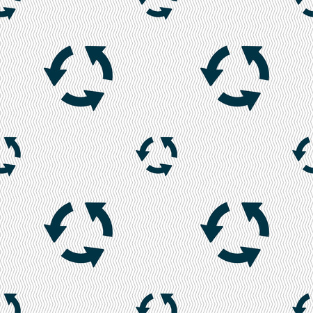 refresh icon: Refresh icon sign. Seamless pattern with geometric texture. illustration