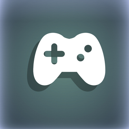 quality controller: Joystick icon symbol on the blue-green abstract background with shadow and space for your text. illustration Stock Photo