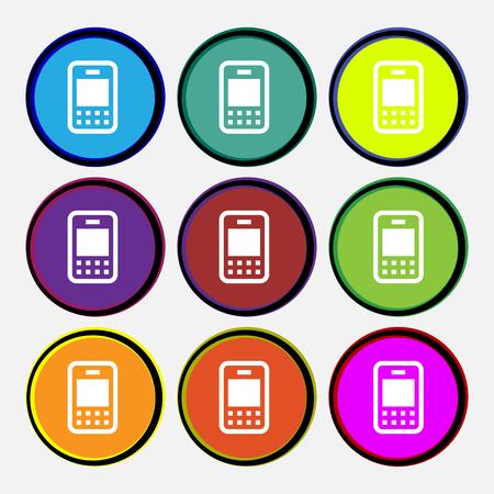 telecommunications technology: Mobile telecommunications technology icon sign. Nine multi-colored round buttons. illustration Stock Photo