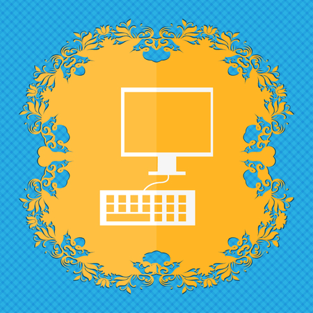 input devices: Computer monitor and keyboard Icon. Floral flat design on a blue abstract background with place for your text. illustration