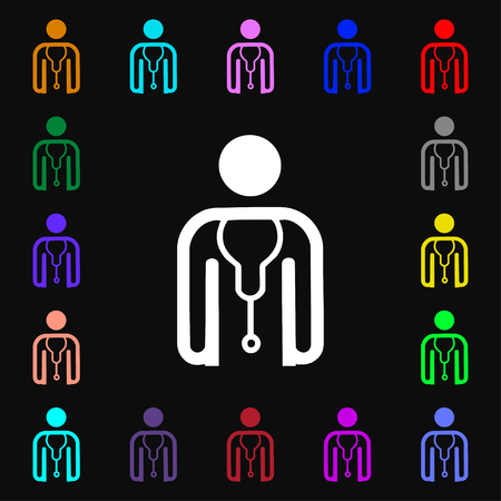 clinical staff: doctor icon sign. Lots of colorful symbols for your design. illustration