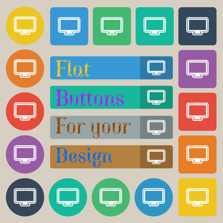 monitor icon sign. Set of twenty colored flat, round, square and rectangular buttons. illustration