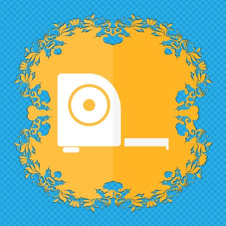 cintas metricas: la construcci�n de la ruleta icono de la muestra. El dise�o plano de flores sobre un fondo abstracto azul con el lugar para su texto. ilustraci�n