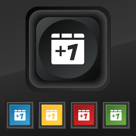 append: Plus one, Add one icon symbol. Set of five colorful, stylish buttons on black texture for your design. illustration
