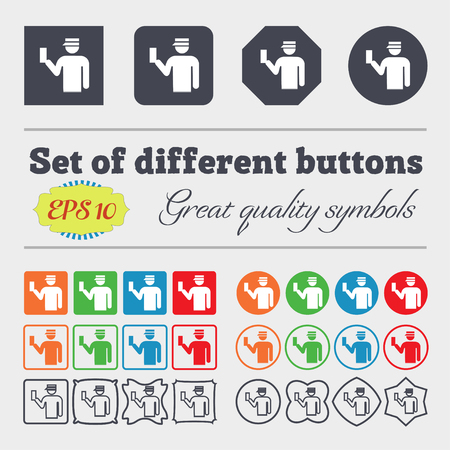 inspector: Inspector icon sign. Big set of colorful, diverse, high-quality buttons. illustration