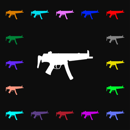 large group of objects: machine gun icon sign. Lots of colorful symbols for your design. illustration