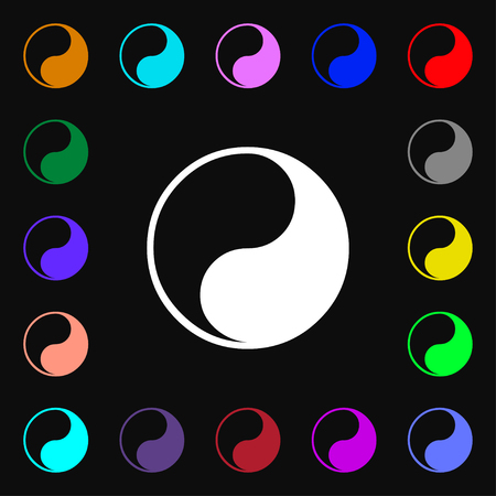 karma graphics: Yin Yang icon sign. Lots of colorful symbols for your design. illustration