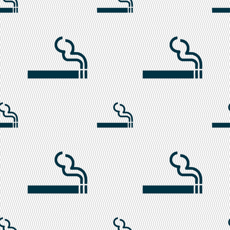 artistic addiction: cigarette smoke icon sign. Seamless pattern with geometric texture. illustration Stock Photo