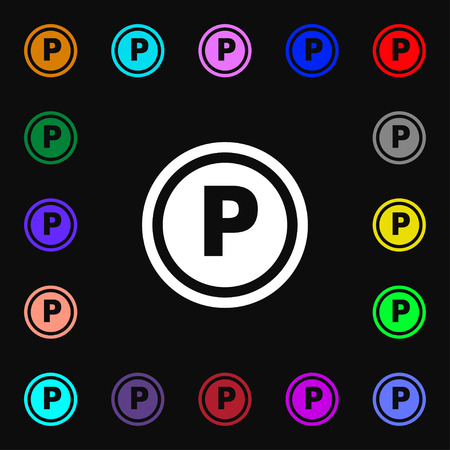 car lots: Car parking icon sign. Lots of colorful symbols for your design. illustration Stock Photo