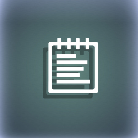 bluegreen: Notepad icon symbol on the blue-green abstract background with shadow and space for your text. illustration Stock Photo