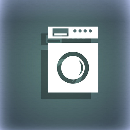 grams: kitchen scales icon sign. On the blue-green abstract background with shadow and space for your text. illustration Stock Photo