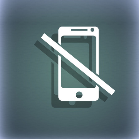 phone ban: Do not call. Smartphone signs icon. Support symbol. On the blue-green abstract background with shadow and space for your text. illustration