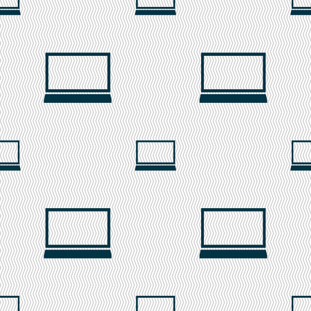 ultrabook: Laptop sign icon. Notebook pc symbol. Seamless abstract background with geometric shapes. illustration