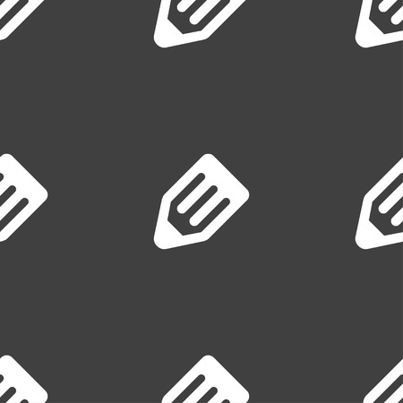 secretarial: pencil icon sign. Seamless pattern on a gray background. illustration Stock Photo