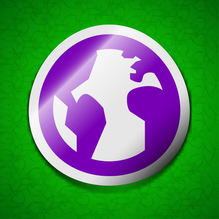 geography background: Globe, World map geography icon sign. Symbol chic colored sticky label on green background. illustration
