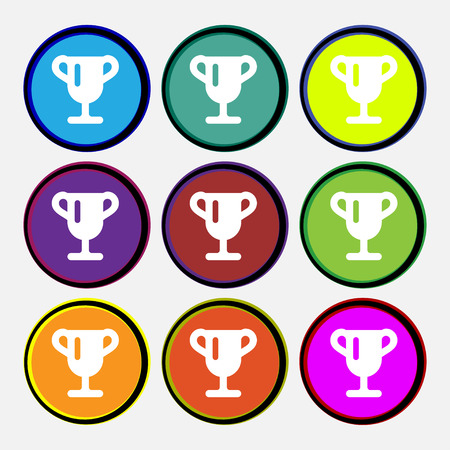 awarding: Winner cup, Awarding of winners, Trophy icon sign. Nine multi-colored round buttons. illustration