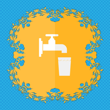 soda splash: faucet, glass, water. Floral flat design on a blue abstract background with place for your text. illustration Stock Photo