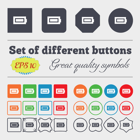 fully: Battery fully charged icon sign Big set of colorful, diverse, high-quality buttons. illustration
