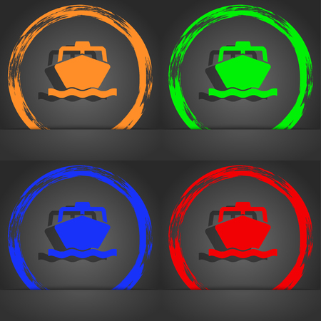 inflate boat: the boat icon symbol. Fashionable modern style. In the orange, green, blue, green design. illustration