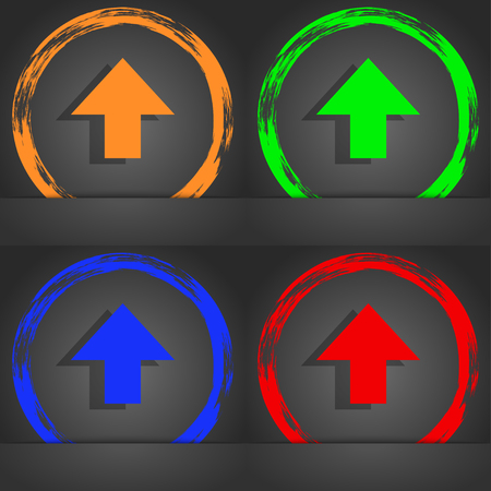 this side up: This side up sign icon. Fragile package symbol. Fashionable modern style. In the orange, green, blue, red design. illustration