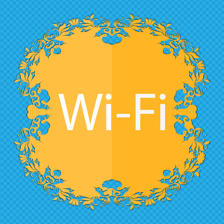 free place: Free wifi sign. Wi-fi symbol. Wireless Network icon. Floral flat design on a blue abstract background with place for your text. illustration