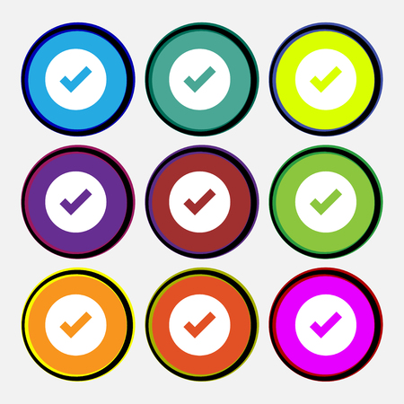Check mark, tik icon sign. Nine multi-colored round buttons. illustration