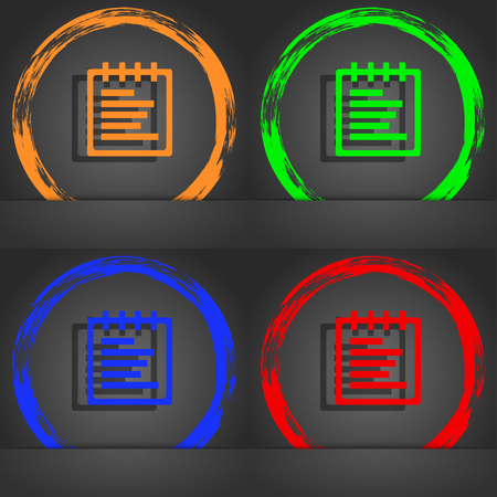 message pad: Notepad icon symbol. Fashionable modern style. In the orange, green, blue, green design. illustration