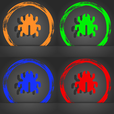 acarus: Software Bug, Virus, Disinfection, beetle icon symbol. Fashionable modern style. In the orange, green, blue, green design. illustration