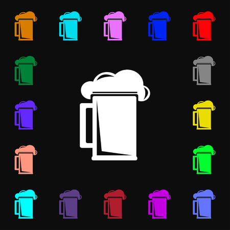 guinness: glass of beer icon sign. Lots of colorful symbols for your design. illustration