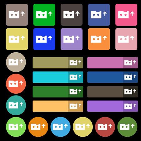 audio cassette: audio cassette icon sign. Set from twenty seven multicolored flat buttons. illustration