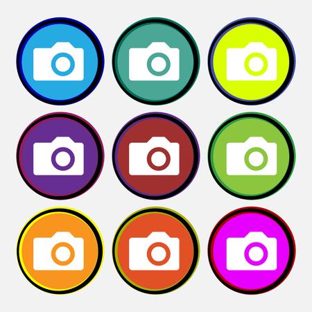 digital photo: Digital photo camera icon sign. Nine multi-colored round buttons. illustration