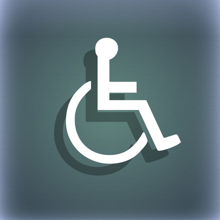 paralyze: disabled icon symbol on the blue-green abstract background with shadow and space for your text. illustration