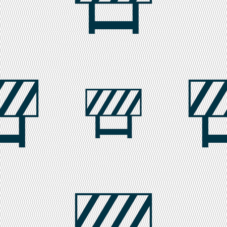 traffic barricade: road barrier icon sign. Seamless abstract background with geometric shapes. illustration
