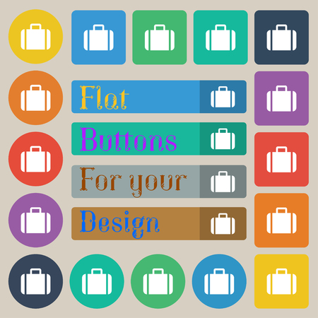 suit case: Suitcase icon sign. Set of twenty colored flat, round, square and rectangular buttons. illustration