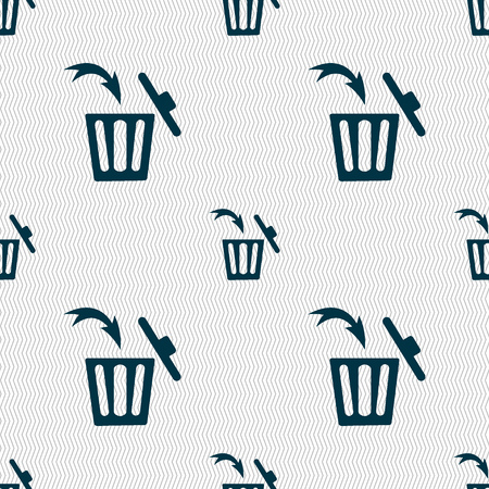 utilization: Recycle bin sign icon. Seamless abstract background with geometric shapes. illustration