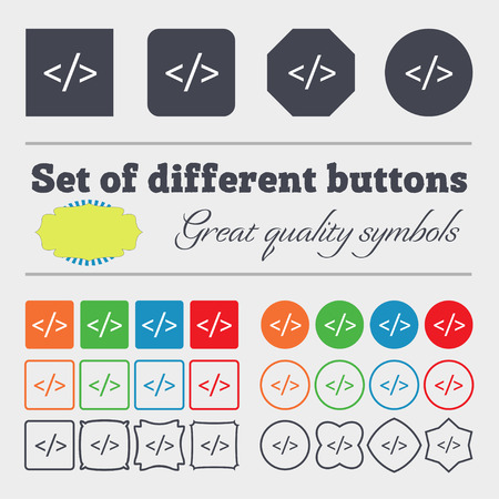 hypertext: Code sign icon. Programming language symbol. Big set of colorful, diverse, high-quality buttons. illustration