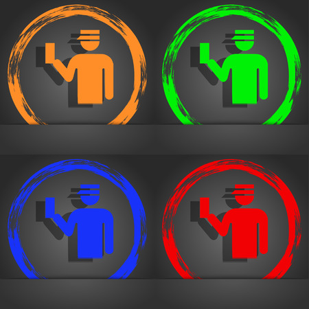 inspector: Inspector icon symbol. Fashionable modern style. In the orange, green, blue, green design. illustration Stock Photo