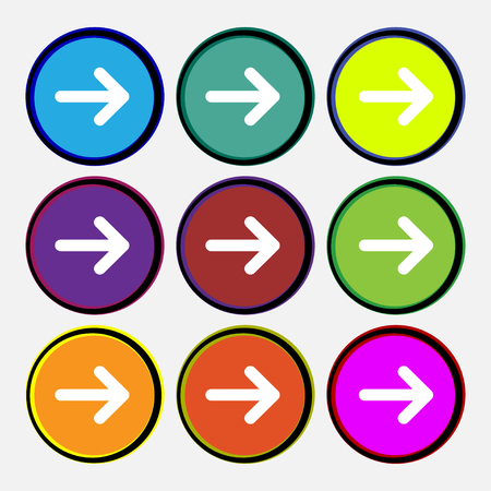 next icon: Arrow right, Next icon sign. Nine multi-colored round buttons. illustration