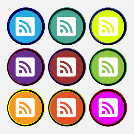 rss feed icon: RSS feed icon sign. Nine multi-colored round buttons. illustration