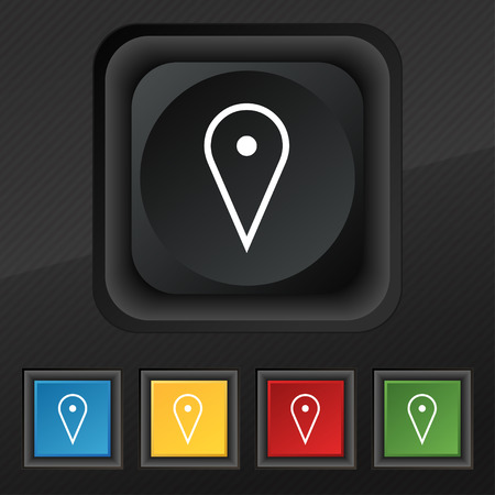 page down: map poiner icon symbol. Set of five colorful, stylish buttons on black texture for your design. illustration Stock Photo