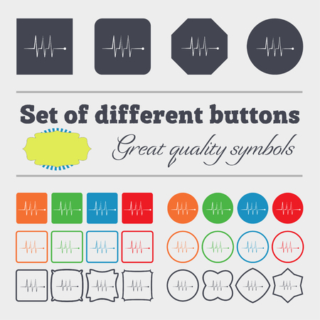 heart beats: Cardiogram monitoring sign icon. Heart beats symbol. Big set of colorful, diverse, high-quality buttons. illustration