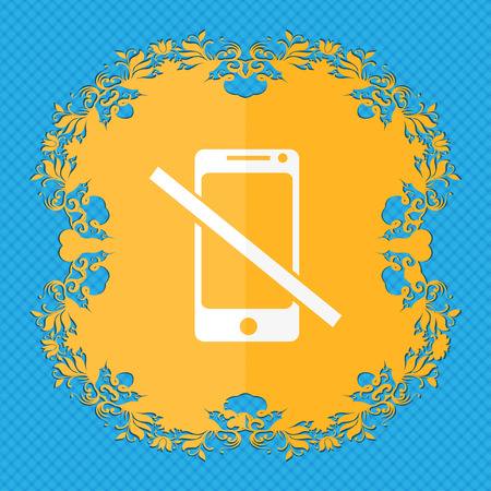 phone ban: Do not call. Smartphone signs icon. Support symbol. Floral flat design on a blue abstract background with place for your text. illustration