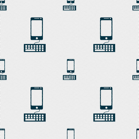 qwerty: Computer keyboard and smatphone Icon. Seamless abstract background with geometric shapes. illustration